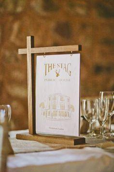Table names - pub signs - wedding at Wedderburn Barns Pub Wedding, Wedding Table Names, Wedding Signs, Wedding Events, Wedding Ideas, Menu Design, Cafe Design, Design Design, Interior Design