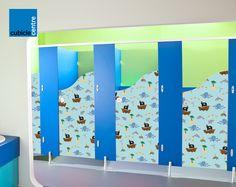 Nursery toilet cubicle designed for children with exclusive door ...