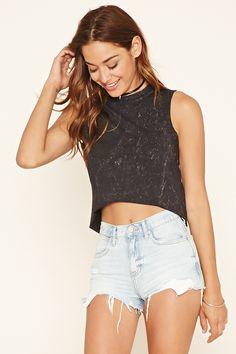 Raw-Cut Cropped Muscle Tee