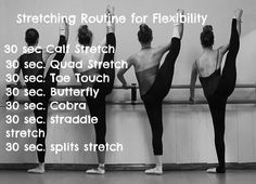 Umm if you want to be as flexible as this pic Id suggest more than 30 seconds Check out Dieting Digest time to do streches which brings fitness . fitness gives Happiness. Stretching Routine For Flexibility, Flexibility Dance, Stretch Routine, Flexibility Training, Increase Flexibility, Flexibility Exercises, Flexibility Fitness, Ballet Stretches, Cheer Workouts