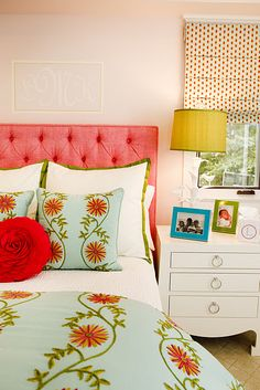 Girl's room by Andrika King Designs. Love the use of color and pattern. The duvet cover and small square shams are from Pine Cone Hill - Edelweiss Crewel in Aqua.