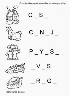 My teaching resources: Pictures to complete words with vowels - My teaching resources: Pictures to complete words with vowels - Spanish Teaching Resources, Spanish Language Learning, Bilingual Education, Kids Education, Preschool Learning Activities, Teaching Kids, Teaching Vowels, Pre Writing, Home Schooling