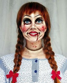 Annabelle Halloween Makeup Tutorial: How to like Annabelle looks - Hallowee . Annabelle Halloween Makeup Tutorial: How to like Annabelle looks - Hallowee . halloween Annabelle Halloween Makeup Tutorial: How to Annabelle looks like - Halloween -. Creepy Halloween Makeup, Scary Halloween Costumes, Halloween Makeup Looks, Scary Makeup, Diy Halloween, Creepy Doll Makeup, Halloween Makeup Tutorials, Costume Makeup Tutorial, Halloween Tutorial
