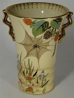Carlton Ware Pale Yellow Spiders Web Hand Painted Vase | eBay