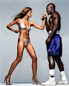 Heidi Klum takes on Evander Holyfield.