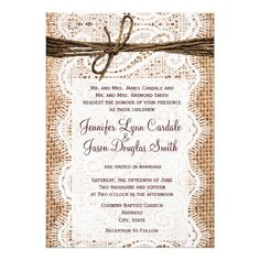 Rustic Country Burlap Lace Twine Wedding Invites Personalized Announcement #wedding #invitations