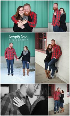 Outdoor Engagement Photo Ideas & Poses - Winter - Snow - Teal Building - Downtown - Billings, MT Wedding Photographer
