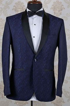 Navy blue & black italian ravishing suit with shawl lapel -ST362
