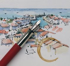 A quick little micro-doodle from the cathedral bell tower high above the harbor of Saint Martin, Île de Ré, France, by Alex Hillkurtz, via ‎Urban Sketchers Group on Facebook.