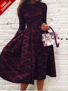 Black and Red Contrast Long Sleeve Skater Dress | USTrendy