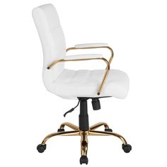 Mid Back Leather Executive Office Chair White/Gold - Riverstone Furniture Best Office Chair, Executive Office Chairs, Swivel Office Chair, Ergonomic Office Chair, Home Office Chairs, Home Office Furniture, Modern Office Chairs, Girls Desk Chair, White Desk Chair