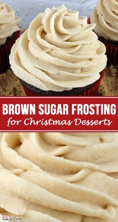 This really is the Best Brown Sugar Frosting for Christmas Desserts. Creamy and sweet and delicious, you'll never need another Brown Sugar Christmas Frosting recipe! It is so easy to make and boy will it be delicious on your Christmas Treats! Cake Frosting Recipe, Frosting Recipes, Buttercream Frosting, Cupcake Recipes, Dessert Recipes, Cookie Frosting, Christmas Food Treats, Christmas Desserts, Christmas Cupcakes