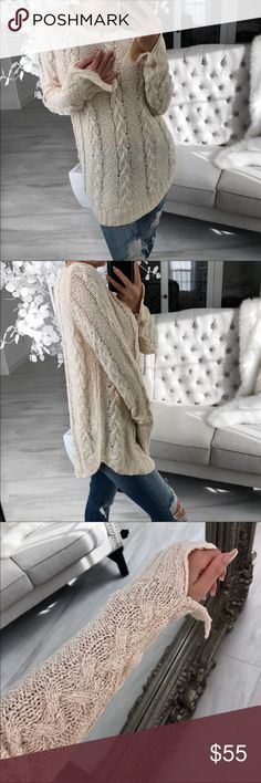 Brand new, never worn cable knit sweater From EkAttire , @itselaine closet and all photo credits go to her.   Really nice quality !!!  New and never worn . This will take you right into spring. Hangs beautifully . NWT ekattire Sweaters