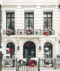 Is Christmas Peace An Impossible Fantasy? - laurel home - classic New York City town house all decked out for Christmas with just the right amount of pristine snow- you do know that this is all a fantasy, right? lol via: @YorkAvenue on instagram