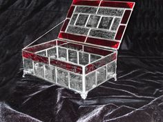 Beveled Stained Glass Jewelry Box - Beveled Glass with Red Stripe on Edge