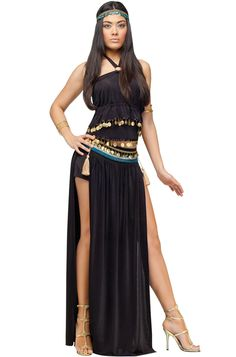 Nile Dancer Adult Costume for Halloween - Pure Costumes. Nile Dancer Adult Costume includes headband, black halter camisole and matching skirt with open sides, attached boy shorts and belt. $36