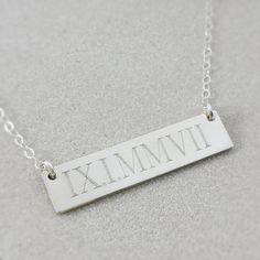Wedding Date Necklace - Roman Numeral Necklace - Sterling Silver Bar Necklace - Custom Engraved Necklace - FREE US Shipping on Etsy, $49.00