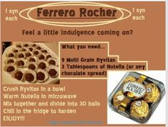 Slimming world Ferrero rocher :) astuce recette minceur girl world world recipes world snacks Slimming World Deserts, Slimming World Puddings, Slimming World Tips, Slimming Eats, Slimming World Recipes, Slimming World Taster Ideas, Slimming World Fakeaway, Sin Gluten, Cilantro