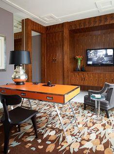 Casa Blanca - modern - home office - phoenix - Jamie Herzlinger Interior Exterior, Modern Interior, Interior Design, Orange Interior, Home Office Design, House Design, Office Decor, Orange Desks, Orange House