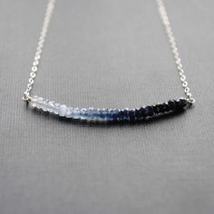 Ombre Sapphire Necklace Blue Sapphire Necklace by SongYeeDesigns