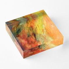 'Lava' Acrylic Block by Faye Anastasopoulou Decorative Throw Pillows, Decorative Items, Home Office Accessories, Theme Pictures, Colourful Living Room, Fancy Houses, Orange Yellow, Home Decor Items, Art Boards