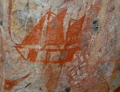 Aboriginal Rock Art showing the coming of the White Man's ships