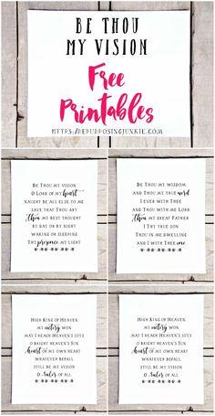 Be Thou My Vision Hymn Free Printables - Repurposing Junkie Printable Bible Verses, Printable Wall Art, Hymn Art, Be Thou My Vision, Bible Songs, Diy Wall Decor, Free Printables, Lettering, Design Hotel
