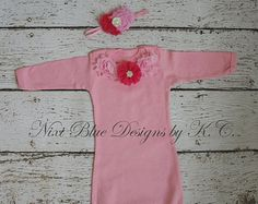 Newborn gown and hat Baby shower gift Baby by NixiBlueDesigns