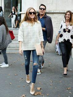 Olivia Palermo style // boxy jacket * ripped jeans