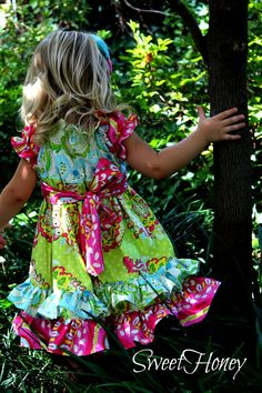 **ONE LEFT**  Little girls pink green blue colorful peasant dress!  Perfect for summer and fall!   Infant, toddler, girls dress