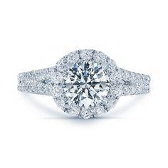 Global Matthew Ryan Design 18k Gold 1 3/4ct TDW Diamond Halo Engagement Ring