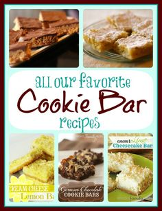 List of Favorite Cookie Bar Recipes