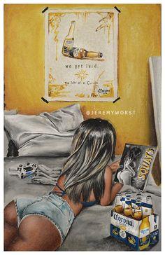 JEREMY WORST Corona beer ad oeuvre signé imprimer par JeremyWorst