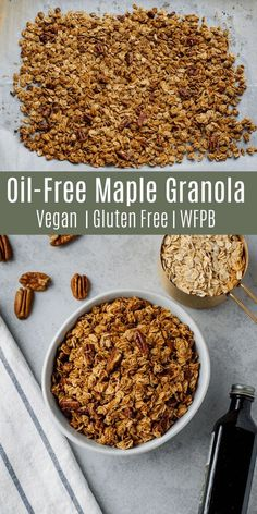 This oil-free maple pecan granola is only 5 ingredients, but it's sweet, crunchy, and delicious! This is the perfect healthy breakfast or snack when you're short on time! Maple Granola Recipe, Vegan Granola, Healthy Granola Recipe, Vegan Breakfast Recipes, Raw Food Recipes, Freezer Recipes, Healthy Breakfasts, Healthy Sweets, Kitchen Recipes