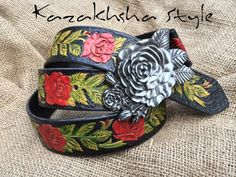 """Leather belt tooled """"Roses"""" by Kazakhsha Style by KazakhshaStyle on Etsy https://www.etsy.com/listing/225806264/leather-belt-tooled-roses-by-kazakhsha"""