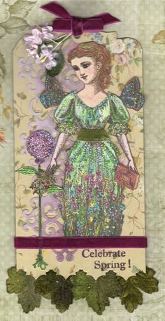 Spring Tag by Heather Maxwell using Character Constructions stamps Timekeeper's Garden and Inner Child