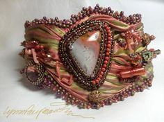 beadwork and shibori ribbon