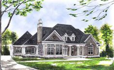 Traditional Style House Plans - 2314 Square Foot Home , 1 Story, 3 Bedroom and 2 Bath, 3 Garage Stalls by Monster House Plans - Plan 7-504