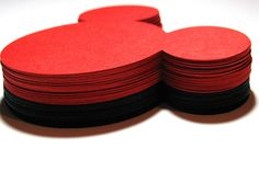 """40 pack- 5"""" Mickey Mouse Large ear die cuts- RED or BLACK- you choose - DIY tags, favor tags, wish tags, labels. $16.00, via Etsy."""