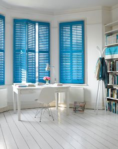 Love the bright blue shutters! great use of color in a white space - would be cool to use bright shutters instead of closet doors (Home Office styled by Pippa Jameson) Decor, House Design, Interior, Blue Shutters, Home, Interior Shutters, House Interior, Popular Interior Design, Interior Design