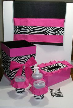 One of my best girl friends is a big zebra lover. When I say big, what I really mean is HUGE - huge as in almost every room in her house is decorated with zebra Leopard Print Bathroom, Zebra Bathroom, Bathroom Sets, Bathrooms, Bathroom Stuff, Animal Print Rooms, Animal Prints, Pink Zebra, Pale Pink