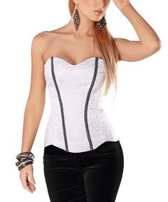 Another great find on #zulily! White Lace Corset - Women #zulilyfinds