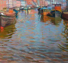 Joost Doornik. Reflection Noorderhaven. Oil on Canvas. Dutch modern impressionism.