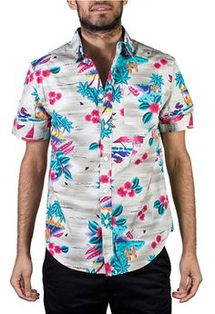 This definitely is your daddy's Hawaiian print shirt, if your daddy is on acid! Mishka Maui Wowie Button up $90