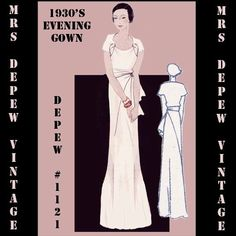 1930s Evening Gown   digital -  draft at home - sewing pattern