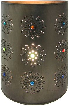 This Mexican wall lamp has been hammered in tin metal. Lamp is available in two sizes and three colors. Tin Wall Lamp by Rustica House. Tin Can Lanterns, Applique, Tin Can Crafts, Tin Walls, Southwest Decor, Southwest Style, Large Lamps, Retro Lamp, Bedside Lighting