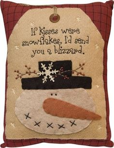 Snowman Kisses Blizzard - Primitive Country Rustic Winter Christmas Embroidered Seasonal Decor: Home & Kitchen Primitive Christmas, Christmas Snowman, Winter Christmas, Christmas Holidays, Christmas Decorations, Christmas Ornaments, Christmas Pillow, Christmas Cushions, Holiday Decorating
