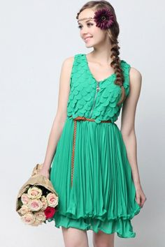 Sweet Petal Edge Embellished Sleeveless Pleated Chiffon Dress OASAP.com