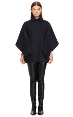 Bonded Felt And Raven Foldover Cropped Coat by Dion Lee for Preorder on Moda Operandi
