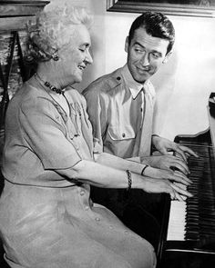 On leave from the Air Corps, Colonel James Stewart plays a duet with his mother at the family home in Indiana. September, 1945